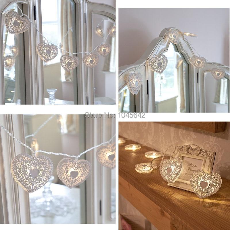 Laca blanca de LED en forma de corazón Iluminación de hadas - Para fiestas y celebraciones