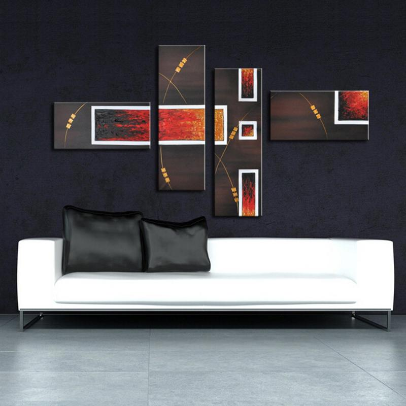 Wall Art Home Goods: Beautiful Home Goods Wall Art 4 Pieces Abstract Oil