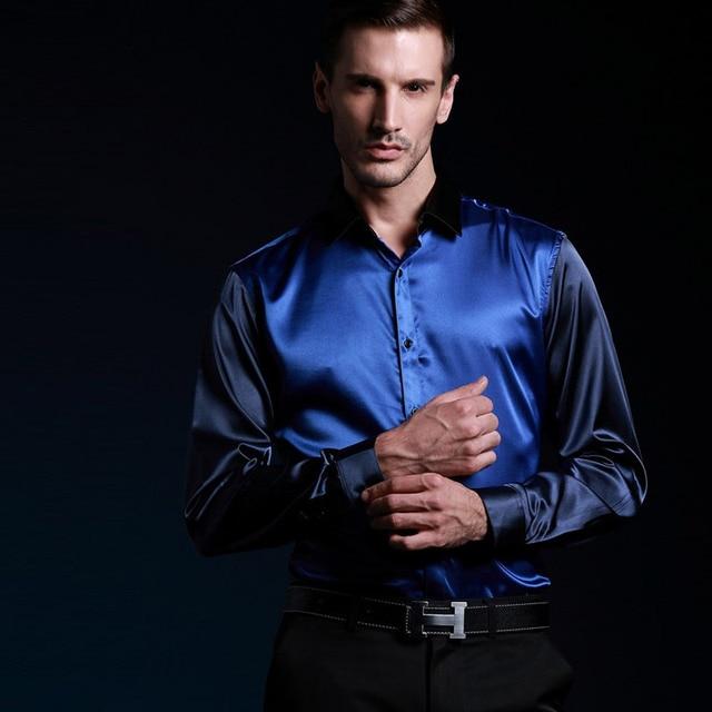 2017 Limited Edition Mens Shirt Simulated Silk Satin Patchwork Elastic Force Long Sleeve Silk Shirt Party Date Man Shirt MT907