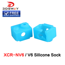 FreeShipping 3DSWAY 3D Printer Part Silicone Socks Heated Block Case XCR-NV6 Heating PT100 E3D V6 Hotend Extruder Blue 1pc