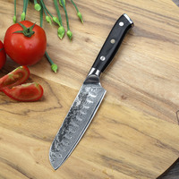 2018 Sunnecko 5 inch Santoku Damascus Knife 73 Layer Japanese VG10 Steel Sharp Blade Meat Cutting Kitchen Knives G10 Handle