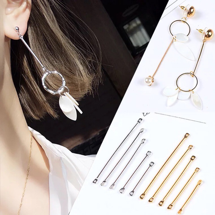 50pc/pack Double Cylinder Connecting Rod Metal Earrings Ear Clip Ear Hook DIY Handmade Ear Jewelry Materials Accessories цена