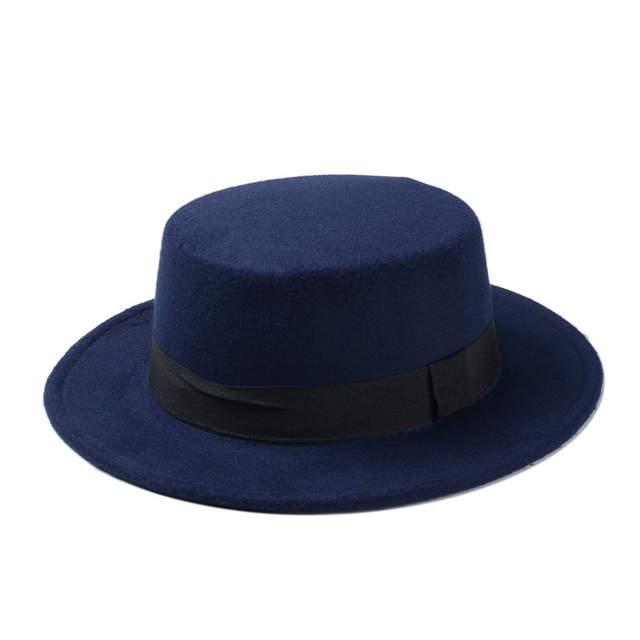 37ba159caba Fashion Wool Boater Flat Top Hat For Men s Felt Wide Brim Fedora Hat  Gentleman Prok Pie