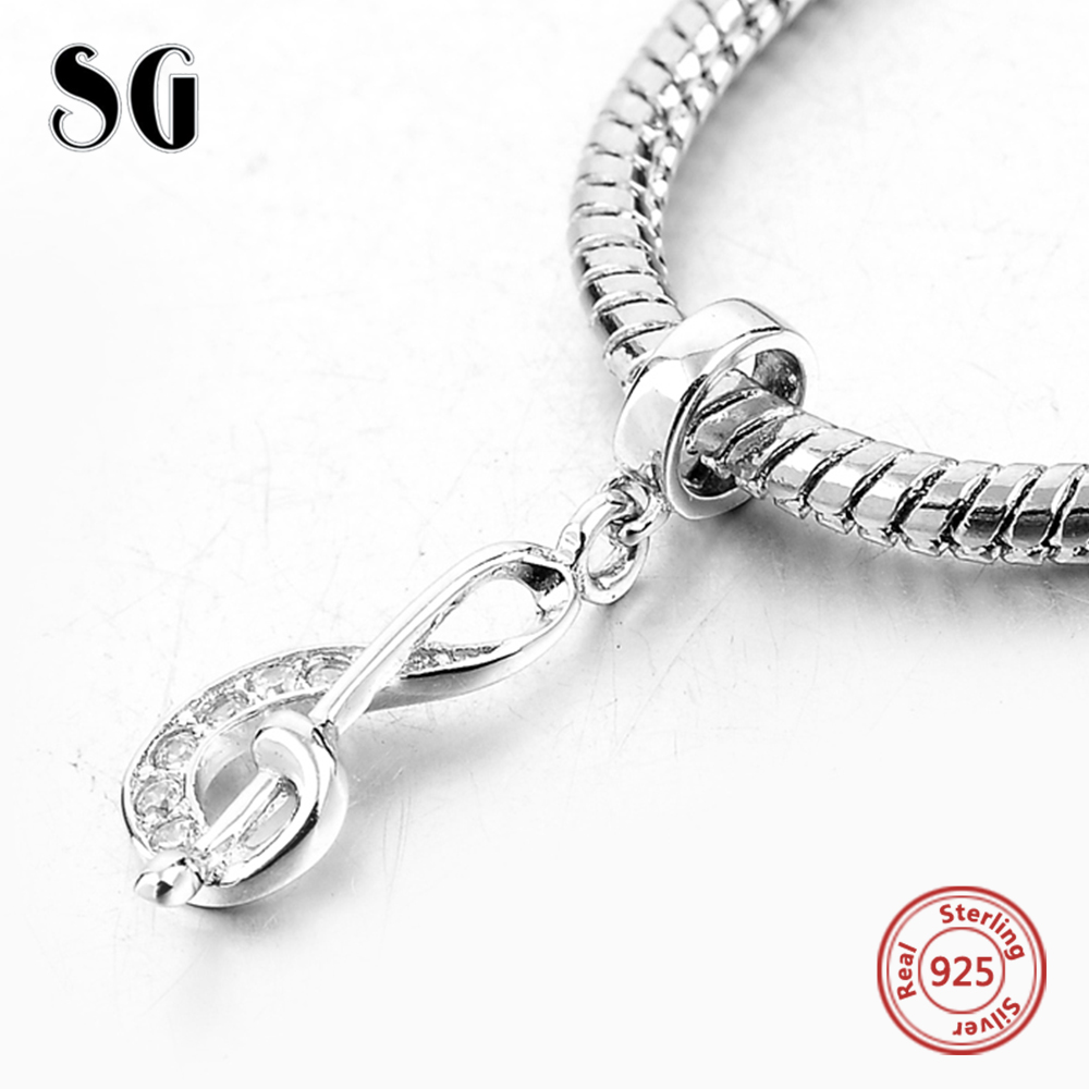 925 Sterling Silver Music Note With Cubic Zirconia Pendant Fit Authentic Pandora Charms Bracelet Beads For Women Fashion Jewelry