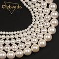 """Atacado Branco Shell Pearl 4,6, 8,10, 12mm Rodada Solta Pérolas 15 """"/38 cm Para DIY Fazer jóias Diybeads"""