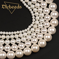 "Wholesale White Shell Pearl 4,6,8,10,12mm Round Loose Beads 15""/38cm For DIY Jewelry Making Diybeads"
