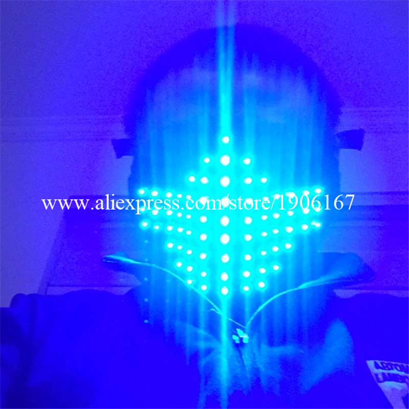 Hot Sale Led Light Up Blue Color Luminous Flashing Halloween Mask Headwear For DJ Club Party Christmas Decoration Free Shipping - 2