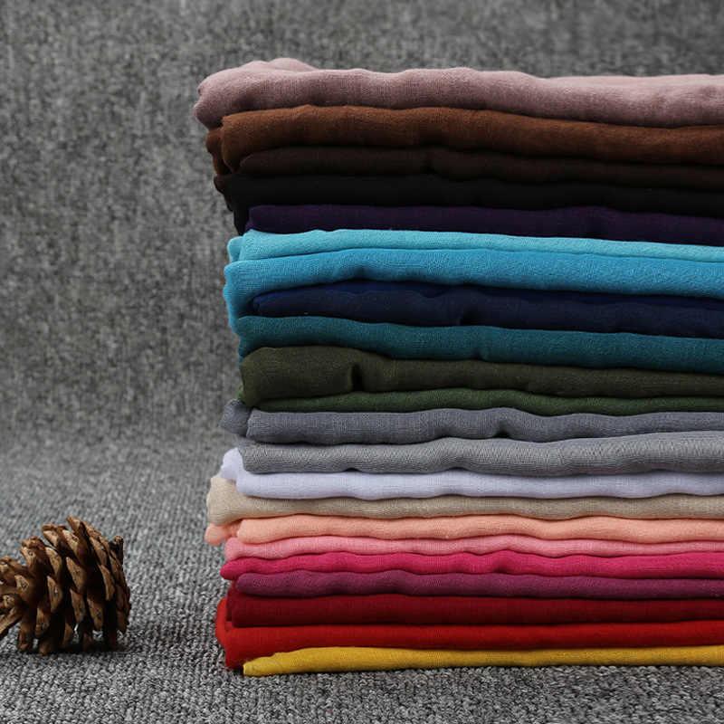 2018 printemps femmes Voile écharpe élégant dames 24 couleurs solide couleur grand Long foulards européens et américains musulmans châles Wrap