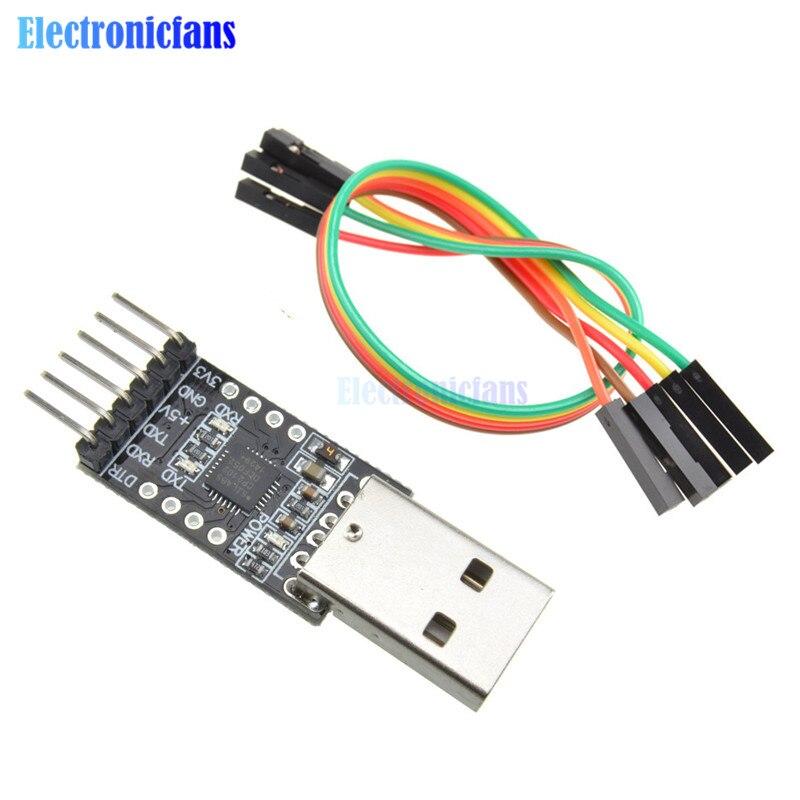 CP2102 USB 2,0 a UART TTL 6PIN módulo convertidor serie con Cables Dupont compatible con Windows 2000/XP OS9 Linux 2,40 para Arduino