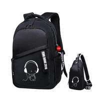 2pcs/set school bags for kids boys bookbag shoulder bag children backpacks school backpack for boy chest bag pack man back pack