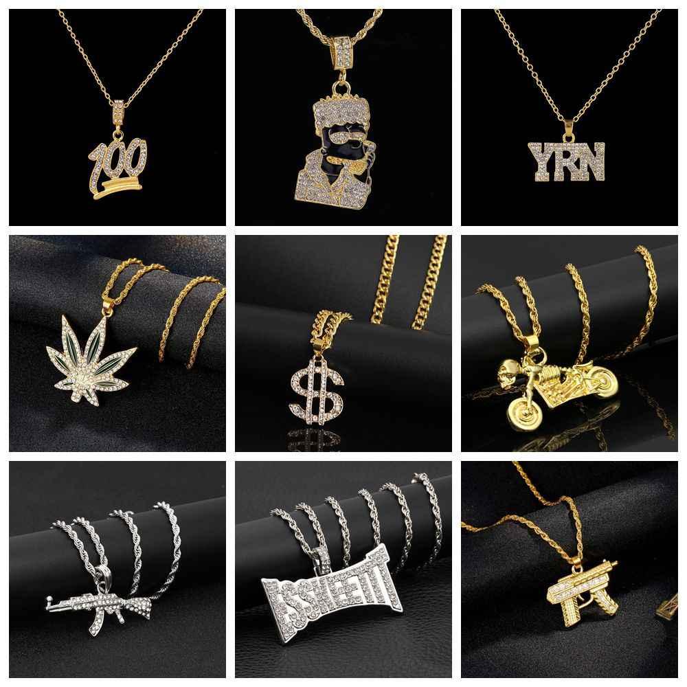 משלוח מאוורר 2019 היפ הופ גברים גותי פאנק שרשראות לנשים Hiphop בלינג אקדח AK47 סימן דולר תליון שרשרת זכר תכשיטי מתנה