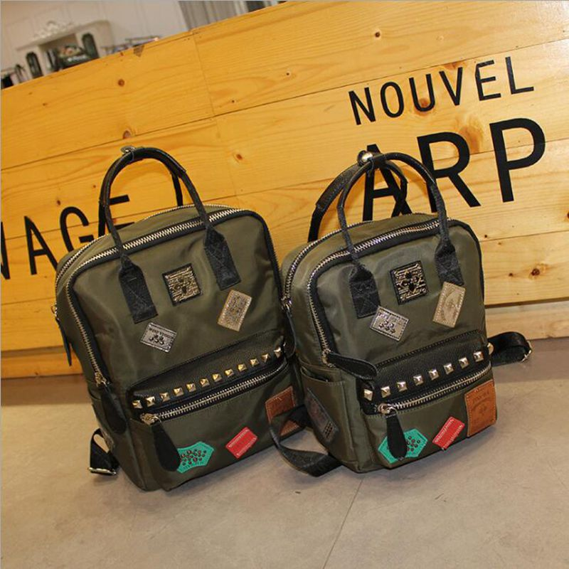 ФОТО Free shipping the new 2016 Oxford han edition rivet canvas backpack backpack institute wind bag  Oxford backpack.