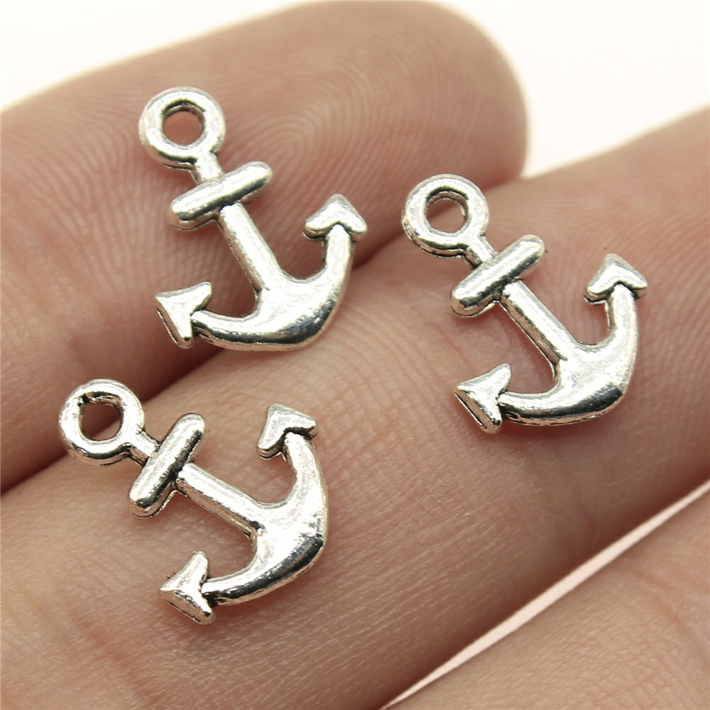 Silver Yellow Plated Anchro With Rope 3-D Charm 32mm