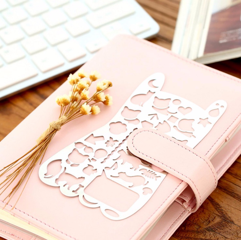 Cat Stencils Template Portable Stainless Steel Hollow Ruler DIY For Filofax Planner Travel Diary Notebook Creative Gift
