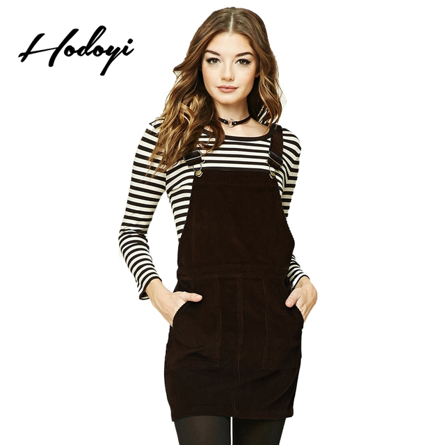 f9975a2ed Hodoyi 2017 Autumn European Style Solid 2 Colors Women Skirts Suspender  Front Pocket High Waist Back Cross Tie Casual Skirts