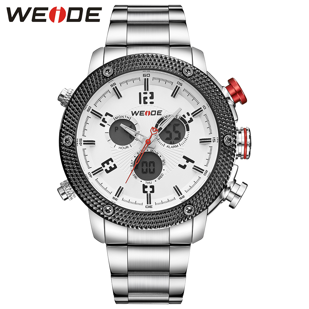 WEIDE Casual luxury genuin new Watch Men Quartz Digital Date Alarm  Waterproof  Clock  Relojes Double display Multiple Time Zone weide 2017 new men quartz casual watch army military sports watch waterproof back light alarm men watches alarm clock berloques