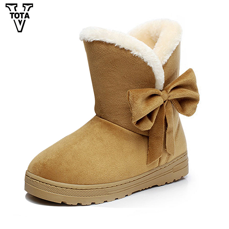 VTOTA Women Snow Boots Winter Warm Ankle Boots Platform Round Toe Shoes Woman Butterfly-knot Flat With Adult Bota Feminina C25 aphixta women winter boots flat with warm platform snow ankle boots women shoes round toe female fur butterfly knot botas mujer