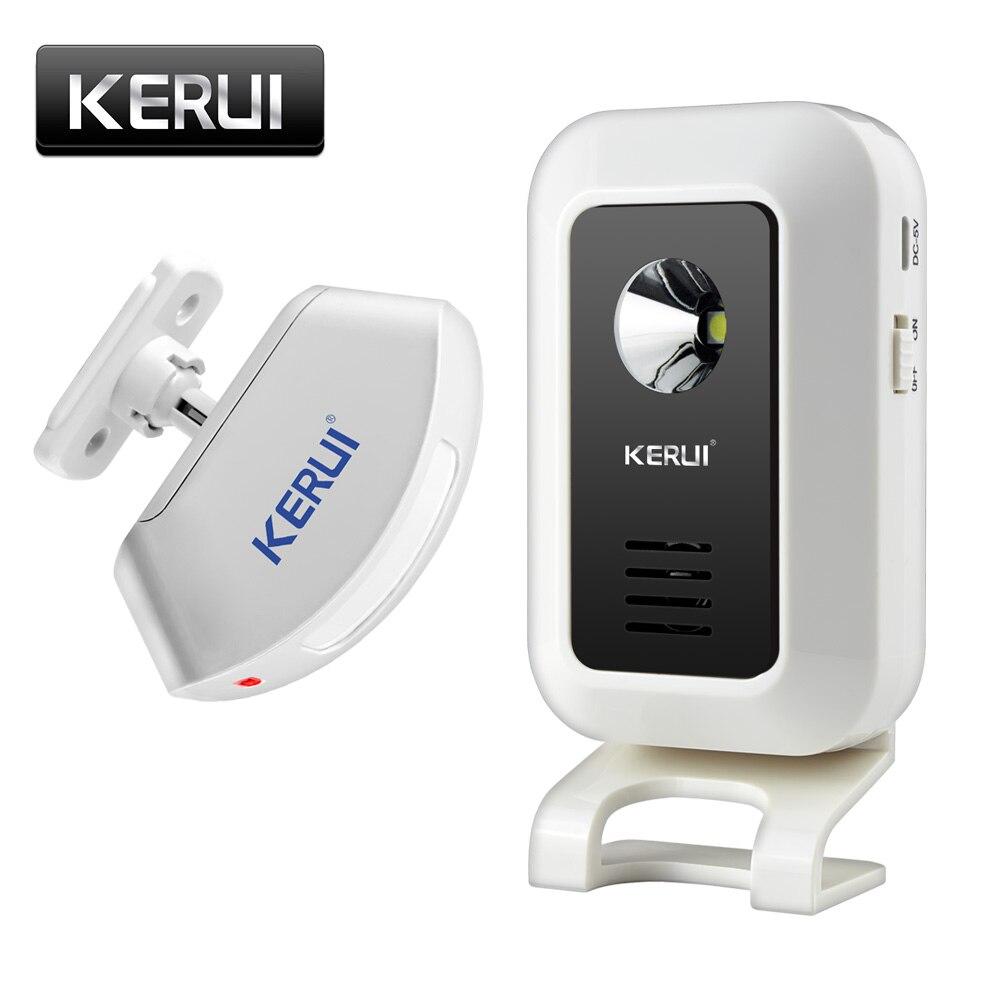 Kerui loja sem fio bem-vindo porta entrada chime inteligente campainha com botão cortinas detector de movimento infravermelho alarme da porta