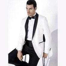 2018 vestuvių kostiumai vyrams skara juodos apykaklės 2 vienetai plonas, tinkamas baltas striukė su juodomis kelnaitėmis, kostiumas, vyriškas smokingas (striukė + kelnės)