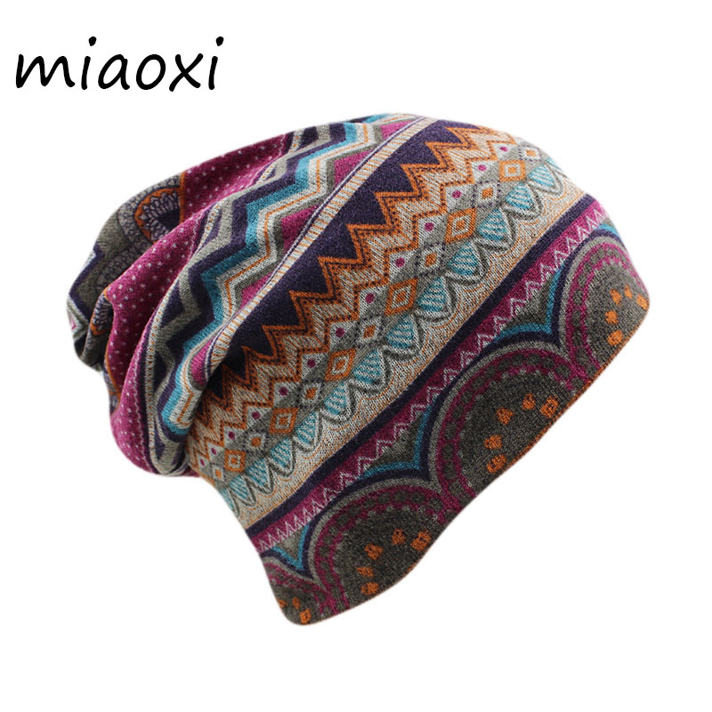 miaoxi New Women Beanies Skullies Lady Fashion High Quality Hip Hop Floral Winter Cap Scarf Adult Polyester Autumn Hat Headdress
