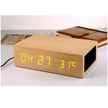 2016 NEW Wooden LED Display Stereo Speaker NFC Bluetooth Touch Control Dual USB Ports Portable Fashion  Alarm Clock