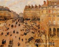 Oil painting Landscape Place du Thretre Francais Sun Effect Camille Pissarro artworks Hand painted High quality
