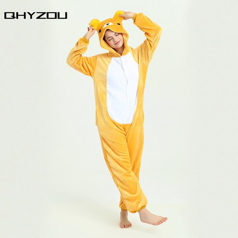 Cute Cartoon Animal Unisex Sleepwear Anime Onesie Romper Flannel Hoodie Jumpsuit Costume Pyjama Sleepcoat Rilakkuma Bear