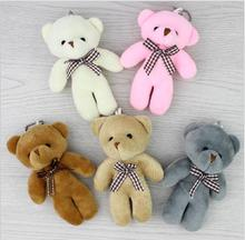 12pcs Lovely 11cm Teddy bear plush toys small doll bears flower gift pendant key ring chain Party decorate