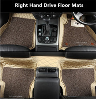 Auto Floor Mats For Honda Civic CRV CR V Accord Odyssey 2006 2017 Right Hand Drive Embroidery Leather Wire coil 2 Layer