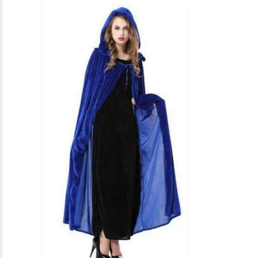 Hot Sale Halloween Costumes for Adult Long Blue Green Red Black Cloak Witch Wizards Hood with Capes