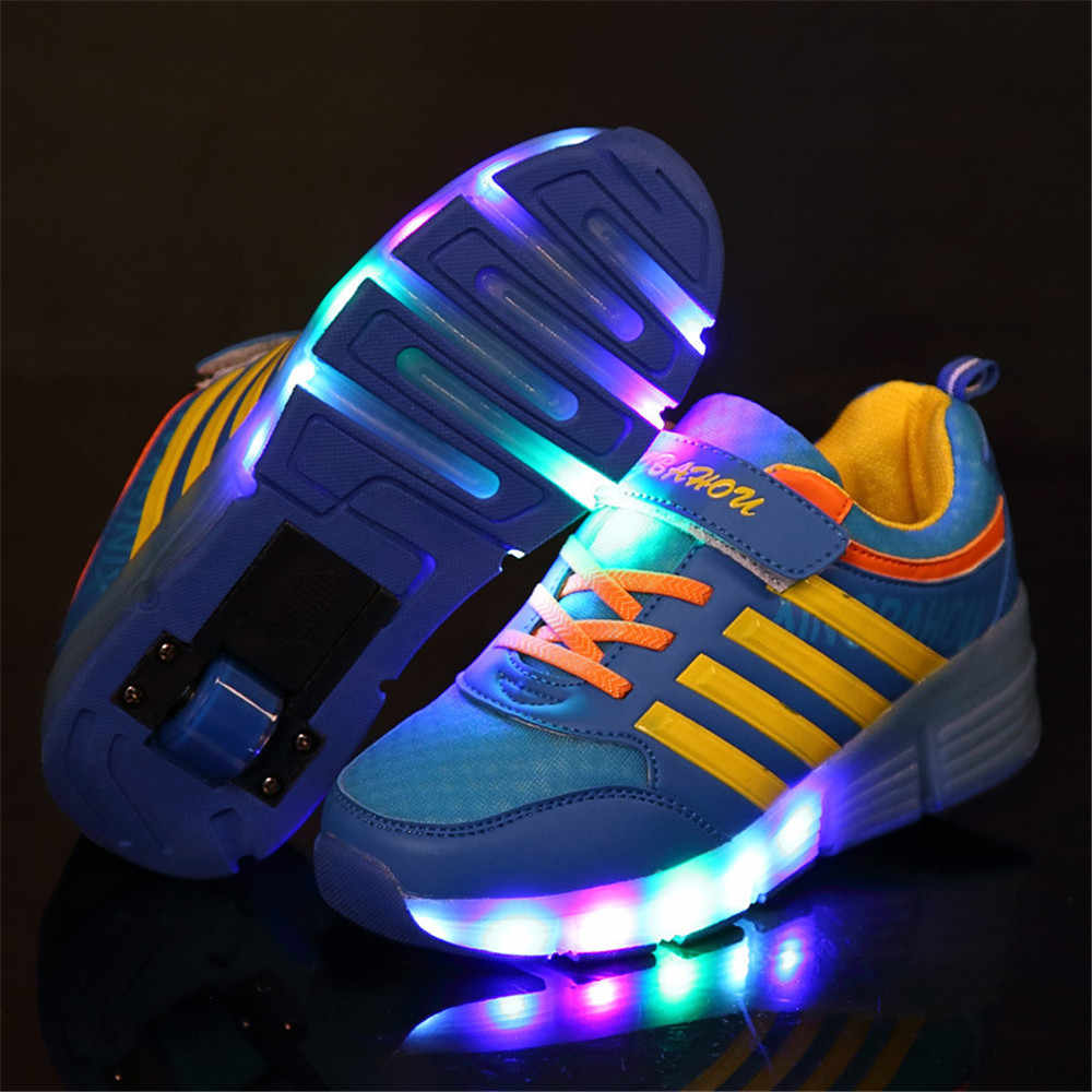 Blue Colorful LED Flashing Single Roller Skates Shoes for Kids Boy Girl Roller Skates Pulley LED Heelys Sneakers Child Gift