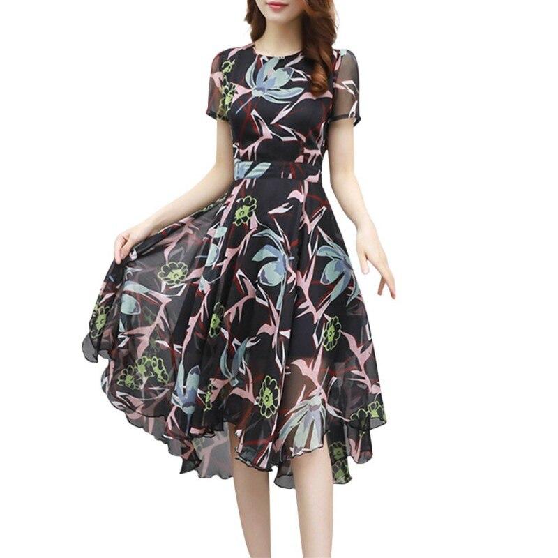 Sexy Women Dress Vintage Floral Chiffon Wrap Dress
