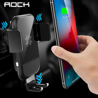 ROCK Car Mount Qi Wireless Charger for iPhone XS XR X 8 Fast Wireless Car Charger Phone Holder for Samsung Galaxy S9 Car Holder