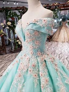 Image 3 - HTL154G1 צבע לבוש הרשמי כבוי כתף מתוקה applique תחרה שמלת ערב ארוך כלה שמלת מסיבת kleider דמן abendkleid
