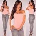 Caliente Las Mujeres Del Verano Del Hombro Backless Mamelucos Tops Volantes Sexy Mujeres Body Blusas Cuello Slash Body Clubwear Bodycon H