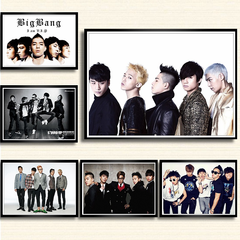 <font><b>Kpop</b></font> music band <font><b>Bigbang</b></font> <font><b>poster</b></font> white coated paper print painting wall art decor Big bang wall sticker image