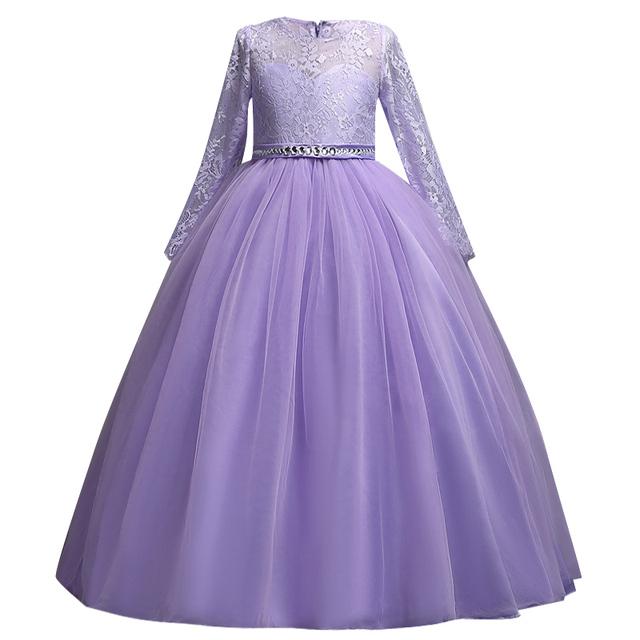 Kids Dresses For Girls Birthday Party Summer Girls Maxi Dress Elegant Lace Performance Princess Dresses Teenagers Wedding Dress