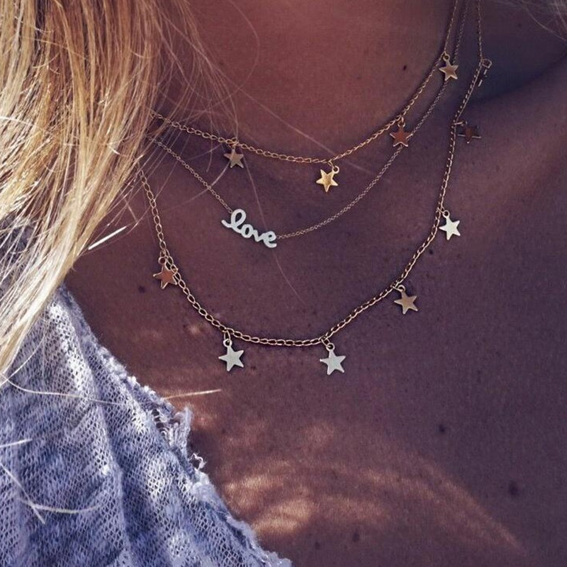 Fashion-Letter-Love-Star-Multilayer-Necklaces-for-Women-Clavicle-Chain-Gold-Five-pointed-Boho-Style-Necklaces