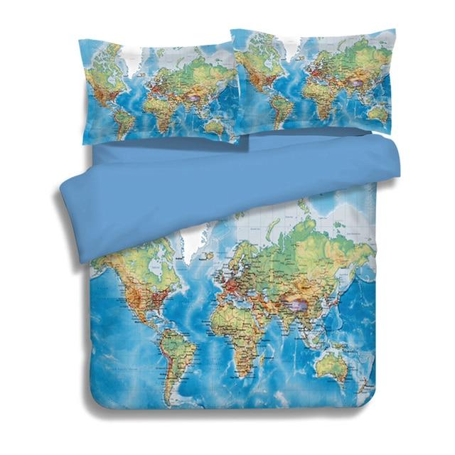 Luxury world map bedding set vivid printed blue bed cover twill cozy luxury world map bedding set vivid printed blue bed cover twill cozy duvet cover set king gumiabroncs Gallery