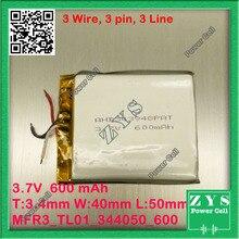 3 alambre de li-ion 3.7 v 600 mAh batería recargable 3.7 v 600 mah Tamaño: 3.4x40x50mm