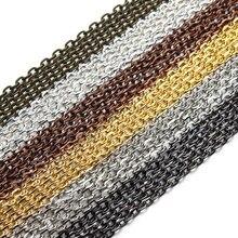 4ade1d730b1f 10 m lote rodio plata oro bronce Color de bronce antiguo collar de cadenas  de latón a granel para la fabricación de la joyería D..
