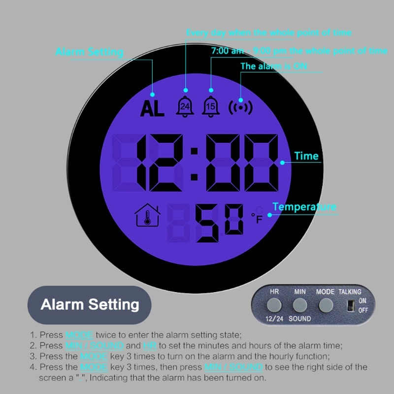 Projection Alarm Clock Night Lights Temperature Digital Time Voice Snooze Multifunction Display Home Table Bedsides Bedroom Lamp in LED Night Lights from Lights Lighting