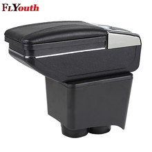 купить Armrest Box Central Store Content Storage Box Center Console Leather Cup Holder Dual Layer For Volkswagen Old Polo 9N 2002-2009 онлайн