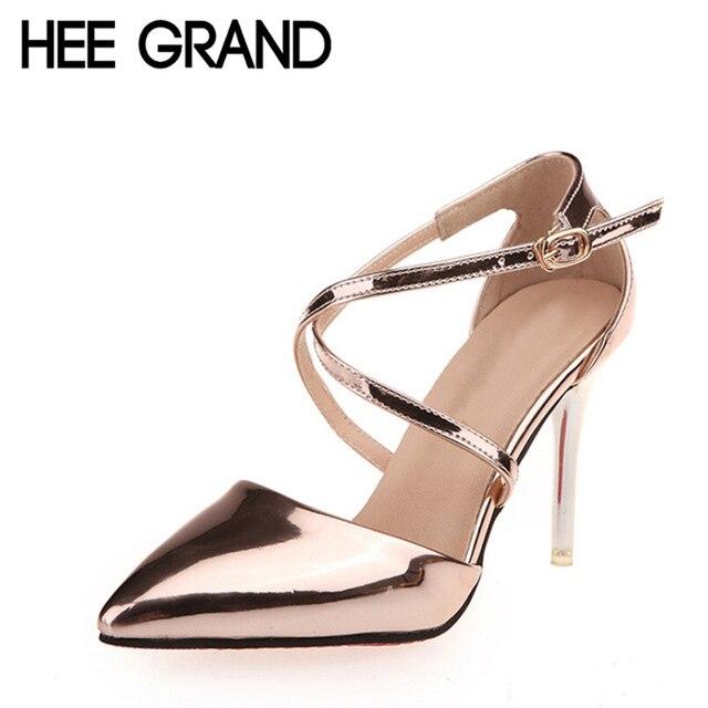 Hee grand mujeres gladiador sandalias de verano sexy estilo cruz atada Tacones altos Zapatos de Mujer de Cuero de LA PU Elegante Talón Fino Bombas WXG083