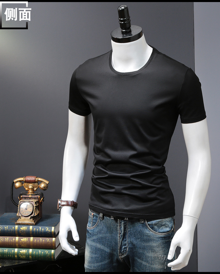 T-shirts Solid Color Man Casual camiseta homme t shirts Male Top Tees Summer (10)