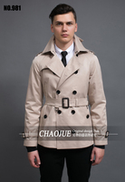 S 5XL ! Short design men trench coat Men's fashion brief double breasted slim coat outwear free shippig