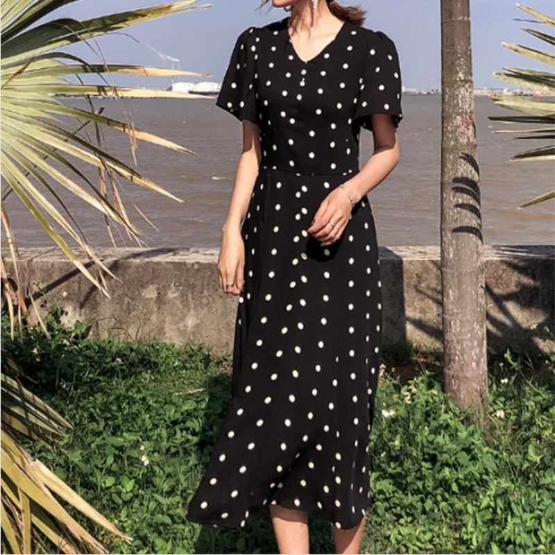 3d4a2c41d462f Flectit French Style Vintage 80s Polka Dot Long Dress Women Front ...