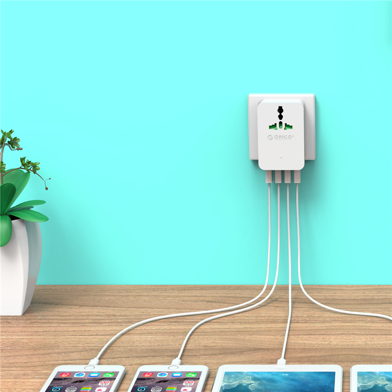 ORICO S4U 20W Universal Power Plug Travel Converting Adapter Surge Protector with 4 USB Charging Ports for Your Phone