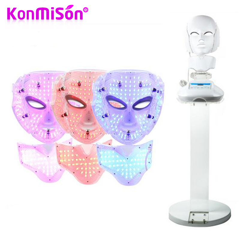 KONMISON 3 Color Photon LED Light Microcurrent Therapy Facial Neck Mask Anti-Aging Skin Rejuvenation Facial Mask With Support