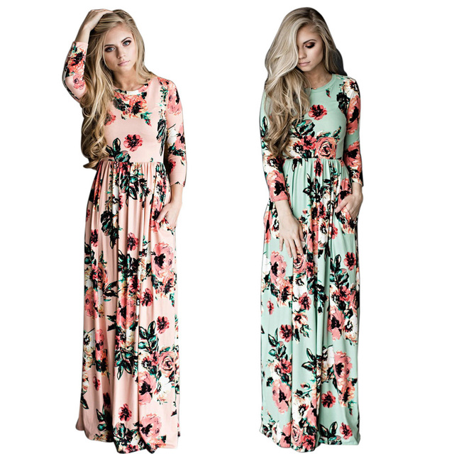 6a06af07531ca4 2018 druck Blume Strand Kleid Boho Vintage Sommer Langarm Kleider Maxi  Frauen Mode Dame Europäischen Stil